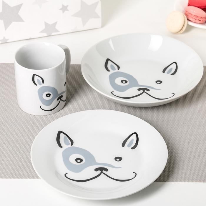 """Набор посуды """"Бульдог"""", 3 предмета: кружка, мелкая тарелка, глубокая тарелка"""