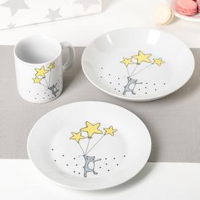 """Набор посуды """"Звёздный мишка"""", 3 предмета: кружка, тарелка, глубокая тарелка"""