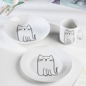 """Набор посуды """"Киска"""", 3 предмета: кружка, тарелка, глубокая тарелка"""