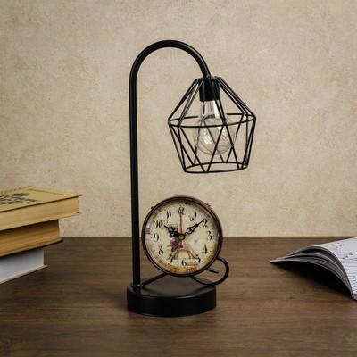 """Часы настольные """"Фонарный столб"""", с лампочкой, 39х12х39 см"""