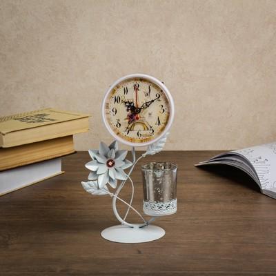 Часы настольные со стаканом, белые, 17х9х25 см