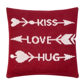 "Наволочка вязаная ""Этель"" Kiss.Love.Hug, 35х35 см, 100% полиэстер"