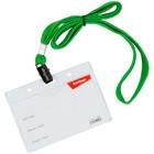 Бейдж-карман горизонтальный 55х90мм Berlingo, с клипсой на зелёном шнурке