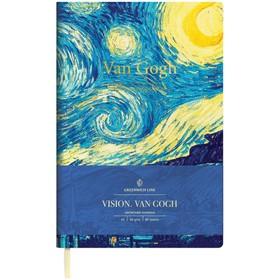 Записная книжка А5, 80 листов Greenwich Line Vision. VanGogh, искусственная кожа, цветной срез
