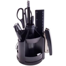 Канцелярский набор 10 предметов, OfficeSpace «Минидеск», вращающийся, чёрный
