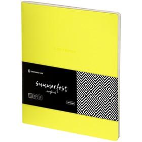 Тетрадь А5, 48 листов клетка Greenwich Line Summerfest, искусственная кожа, неоновая жёлтая