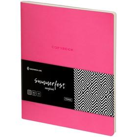 Тетрадь А5, 48 листов клетка Greenwich Line Summerfest, искусственная кожа, неоновая розовая
