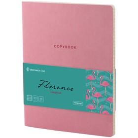 Тетрадь А5, 48 листов клетка «Лайт. Greenwich Line. Florence», искусственная кожа, тонированный блок, цветной срез, розовый