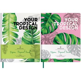 Notebook A5, 80 sheets, Greenwich Line cage. Vision. Tropicaltrend, faux leather, tinted block, color cut