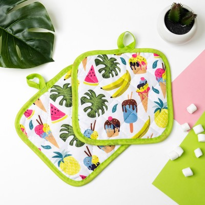"Kuh. set of 2 St. Dolyana ""Summer"", potholder 16*16 cm - 2 PCs,100% p/e"