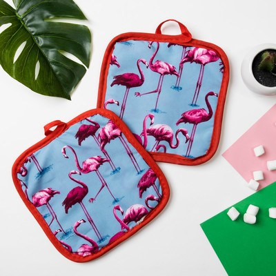 "Kuh. set of 2 St. Share ""Flamingo""color.blue, potholder 16*16 cm - 2 PCs,100% p/e"