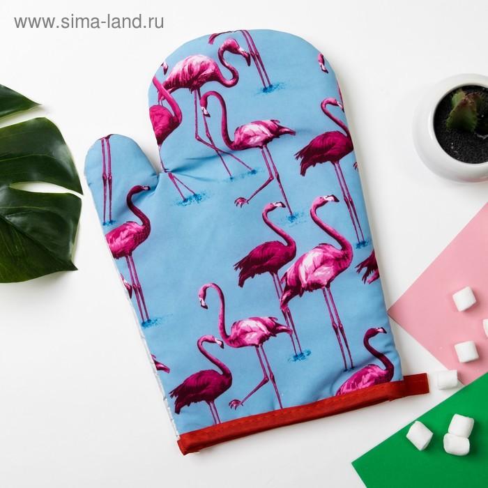 "Mitten Share ""Flamingo""color.blue 26*16 cm, 100% p/e"