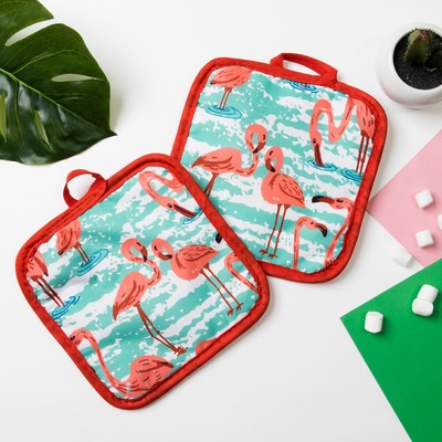 "Kuh. set of 2 St. Share ""Flamingo""color.green, potholder 16*16 cm - 2 PCs,100% p/e"