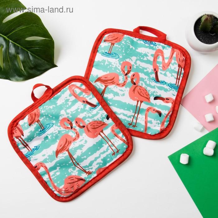 "Kuh. set of 2 St. Share ""Flamingo""color.green, potholder 16*16 cm - 2 PCs,100% p/e"