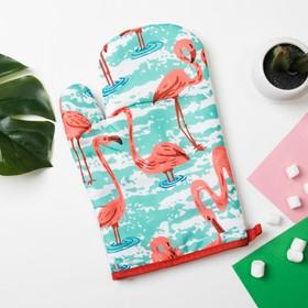 "Варежка Доляна ""Фламинго""цв.зеленый, 26*17 см, 100% п/э"