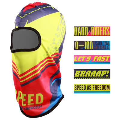 "Set ""Speed"", Balaklava sports 54,5 x 45 cm, 5 stickers 15 x 4 cm"