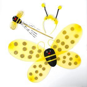 """Карнавальный набор """"Пчёлка"""" 3 предмета: ободок, крылья, жезл"""