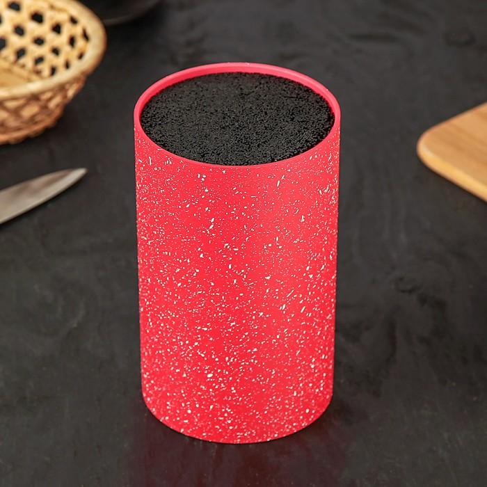 Подставка для ножей «Зефир», 11×18 см, с наполнителем, цвет красный