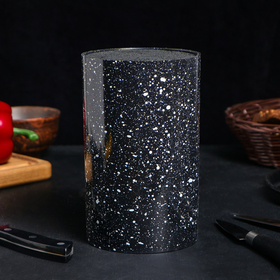 Подставка для ножей «Зефир», 11×18 см, с наполнителем, цвет чёрный