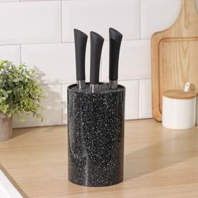 Подставка для ножей 'Зефир' с наполнителем,18х11 см, цвет чёрный Ош