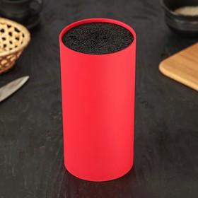 Подставка для ножей «Нео», 22×11 см, с наполнителем, покрытие Soft-touch, цвет красный