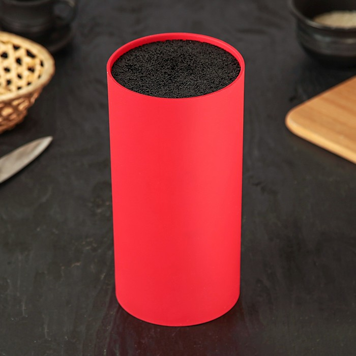 """Подставка для ножей 22х11 см """"Нео"""", с наполнителем, покрытие Soft-touch, цвет красный"""