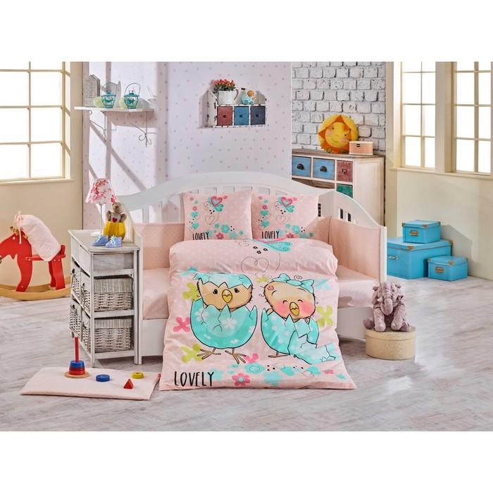 Комплект в кроватку Lovely, 10 предметов, цвет персиковый, поплин