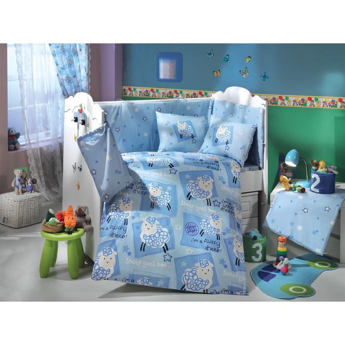 Комплект в кроватку Little sheep, 10 предметов, цвет синий, поплин