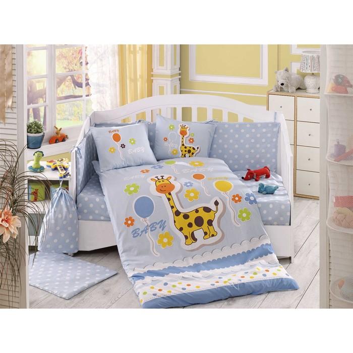 Комплект в кроватку Puffy, 10 предметов, цвет голубой, поплин