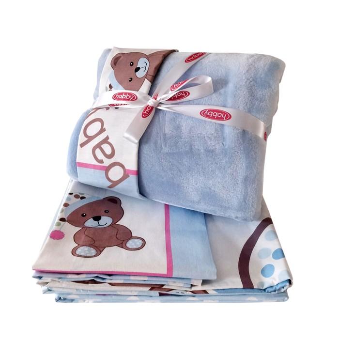 Комплект в кроватку Ponpon, 6 предметов, цвет голубой, поплин