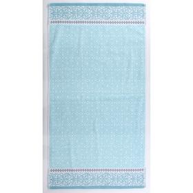 Полотенце махровое «Мозаика», размер 65х135 см, цвет голубой