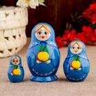 """Матрешка """"Вятская. С наливными яблочками"""", 3 кукольная, 8 х 5,2 см"""