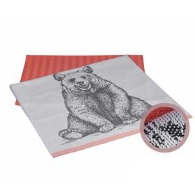 Набор полотенец Bear, размер 50 × 70 см - 2 шт, персиковый