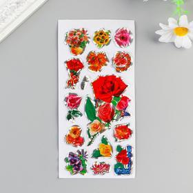 Наклейка пластик голография 'Цветы' МИКС 13х6,5 см Ош