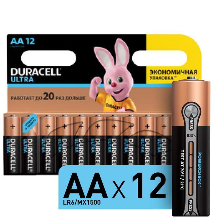 Батарейка алкалиновая Duracell UltraPower, АА, LR6-12BL, 12 шт