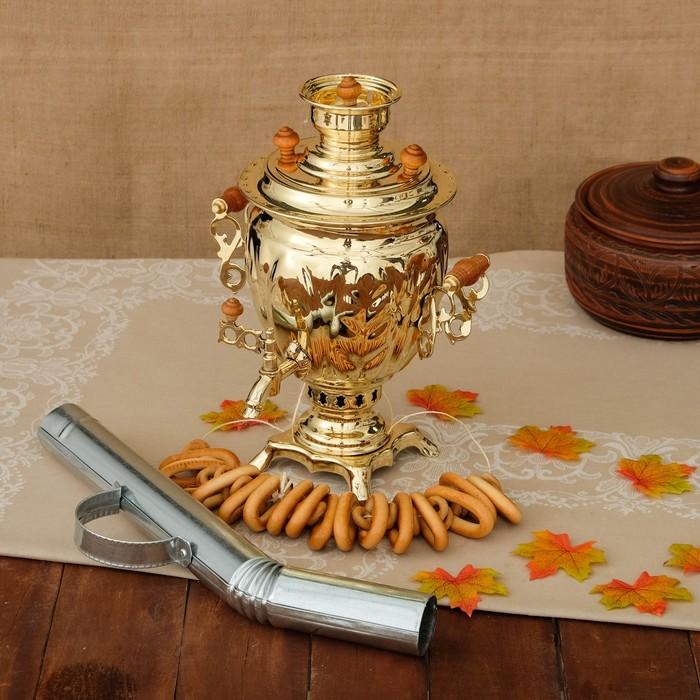 Самовар «Золото», желудь, 2,5 л, жаровой, труба входит в комплектацию