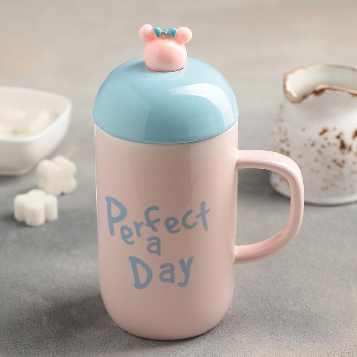 Кружка «Хорошего дня», с керамической крышкой и ложкой, 400 мл, рисунок МИКС - фото 248414