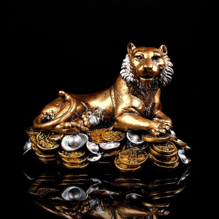 "Сувенир ""Тигр на монетах"" 17 см, микс"