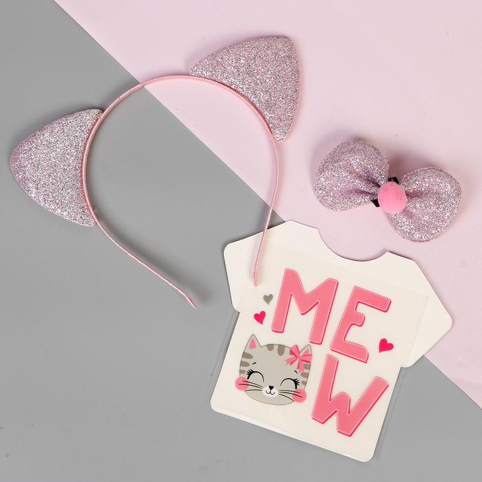 """Карнавальный костюм """"Mew"""" ободок, бабочка, термопринт"""