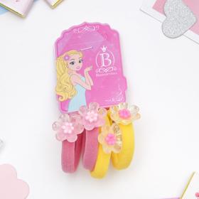 Резинка для волос 'Карамелька' цветочки набор 4шт жёлтый и розовый Ош