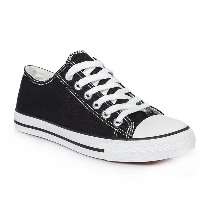 Кеды мужские, шнурки, черный, р. 43