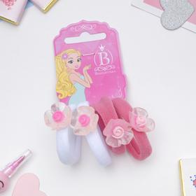 Резинка для волос 'Карамелька' розочка набор 4шт белый и розовый Ош