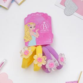 Резинка для волос 'Карамелька' цветочки набор 4шт жёлтый и сиреневый Ош