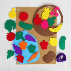 "A Mat of felt with Velcro ""Fruits and vegetables"" worksheet base + 25 items"