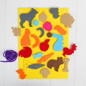 "A Mat of felt with Velcro ""Animals"" , leaf base + 24 element"