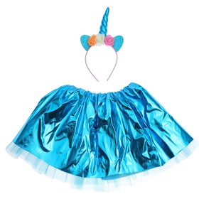 "Carnival set ""Love"" 2 pieces: headband, skirt, color blue"