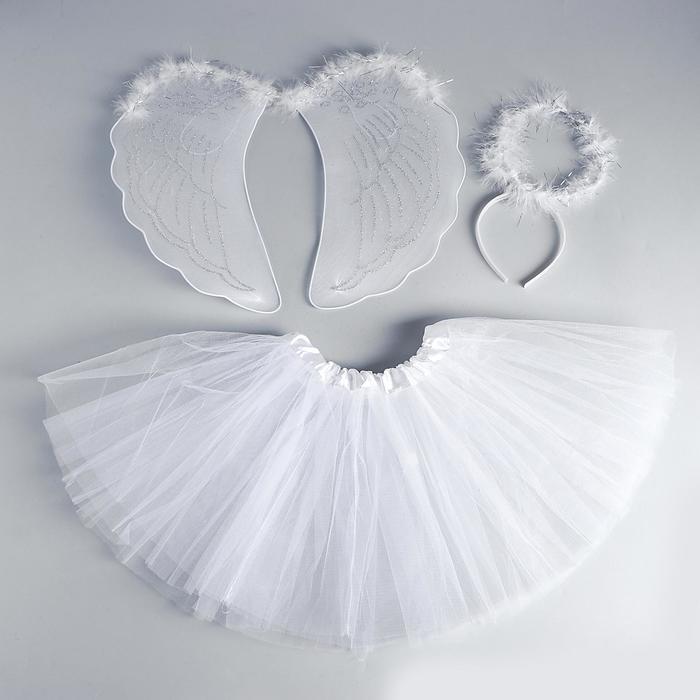 Карнавальный набор «Ангел», 3 предмета: крылья, юбка, ободок - фото 105446271