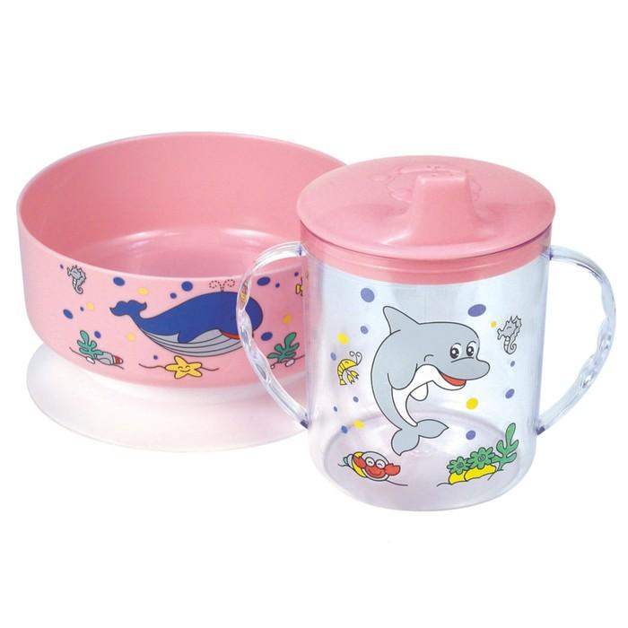 Набор детской посуды, 4 предмета: тарелка, кружка 250 мл, ложка, вилка, цвет МИКС
