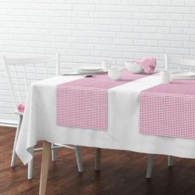 Комплект дорожек на стол «Марси», размер 40 х 150 см - 4 шт, розовый