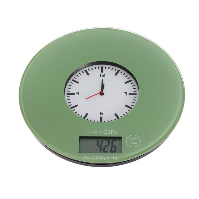 """Весы кухонные LuazON LVK-703, электронные, до 5 кг, встроенные часы, цвет """"хаки"""""""